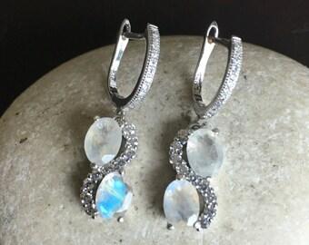 Moonstone Earring Blue Moonstone Earring Sterling Silver Earring Infinity Earring Long Dangle Earring June Birthstone Earring