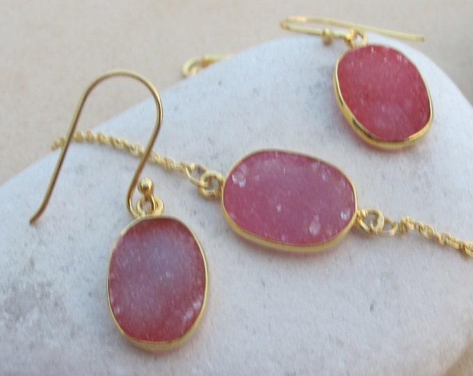 Pink Druzy Jewelry Set- Oval Druzy Bracelet Earring Set- Oval Druzy Jewelry- Pink Gemstone Earring Bracelet- Pink Jewelry Set