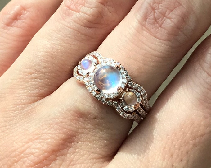 Vintage Moonstone Engagement Ring Set- Three Stone Rainbow Moonstone Bridal Ring Set- Halo Moonstone Diamond Ring in Rose White Yellow Gold