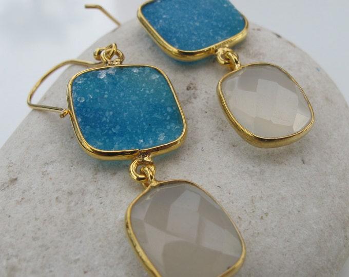 Blue Druzy Chalcedony Dangle Earring- Long Drop Earring- Boho Mixed Stone Gold Earring- Raw Crystal Earring- Raw Stone Jewelry- Rough Stone