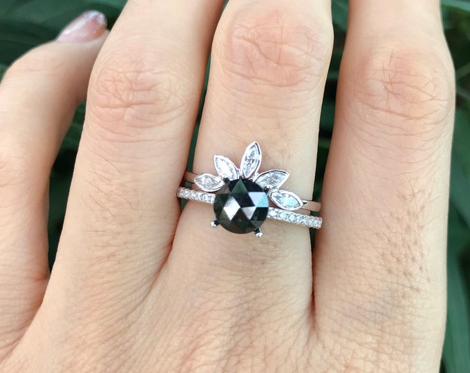 Rose Cut Black Diamond Bridal Set Ring- 1.21ct Round Genuine Black Diamond Engagement Ring Set- 4 Prong Black and White Diamond 2 Ring Set