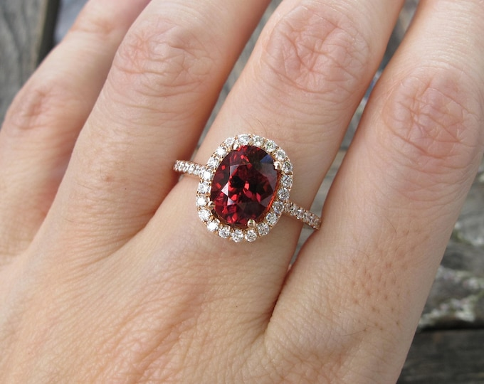 Oval Garnet Halo Engagement Ring- Rose Gold 2.30ct Garnet Diamond Promise Ring- Genuine Garnet Anniversary Ring- January Birthstone Ring