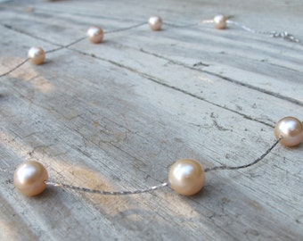 Pink Pearl Choker Necklace- Sterling Silver Pearl Necklace- Freshwater Pearl Necklace- Real Pearl Natural Genuine Necklace June  Necklace
