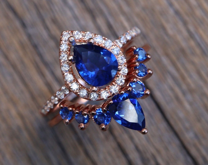 Teardrop Blue Sapphire Bridal Ring Set- Pear Blue Stone Engagement 2 Ring Set- Dark Deep Blue Halo Sapphire Rings