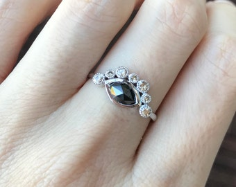 18k White Gold Black Diamond Ring Unique Engagement Ring Half Halo Gold  Diamond Ring Handmade One Of A Kind Ring