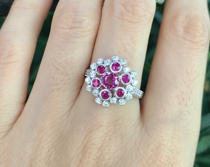 Genuine Ruby Cluster Diamond White Gold Ring- Celestial Ruby Galaxy Engagement Ring- Round Ruby Milgrain Solitaire Ring- Natural Ruby Ring