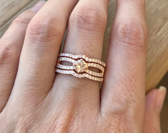 Genuine White Sapphire Bridal Ring Set- Rose Gold Sapphire Engagement 3 Ring Set- Alternative Colorless Womens Ring Set- Double Band Ring