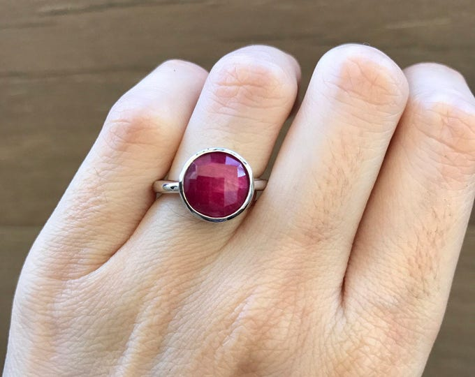 Stackable Round Ruby Ring- Genuine Raw Ruby Ring- July Birthstone Faceted Ring- Simple Bezel Sterling Silver Ring- Red Stone Minimalist Ring