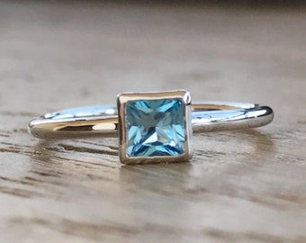 Tiny Stackable Blue Ring- Something Blue Ring- Square Shape Ring- Boho Sterling Silver Ring- Small Childrens Ring- Simple Minimalist Ring