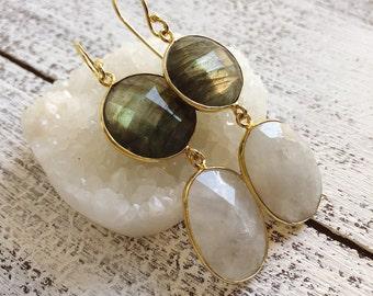 Bohemian Labradorite Moonstone Statement Earring- Long Dangle Natural Gemstone Drop Earring- Handmade 2 Stone Earring- Iridescent Earring