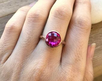 Rose Gold Pink Ring- Round Pink Quartz Ring- Hot Pink Gemstone Ring- Classic Pink Topaz Ring- Simple Pink Stone Ring- Pink Solitaire Ring