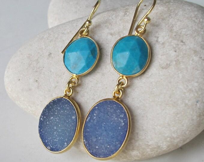 Bohemian Earring Turquoise Druzy Blue Earring Long Gold Dangle 2 Stone Double Drop Boho Jewelry Bohemian Gypsy December Earring Handmade