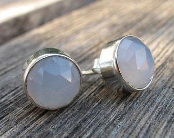 Moonstone Stud Earrings- Silver Stud Earrings- Topaz Post Earrings- Quartz Stud Earrings-Stud Earrings-Chalcedony Stud Earrings-Stone Stud