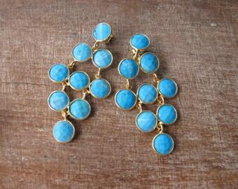 Gold Turquoise Dangle Boho Earring- Blue Turquoise Cascade Bohemian Drop Earring- Blue Stone Statement Earring- December Long Earring