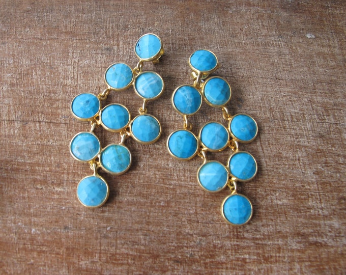 Turquoise Chandelier Dangle Boho Long Earring- Turquoise Cascade Bohemian Drop Rustic Earring- Blue Stone Statement December Earring