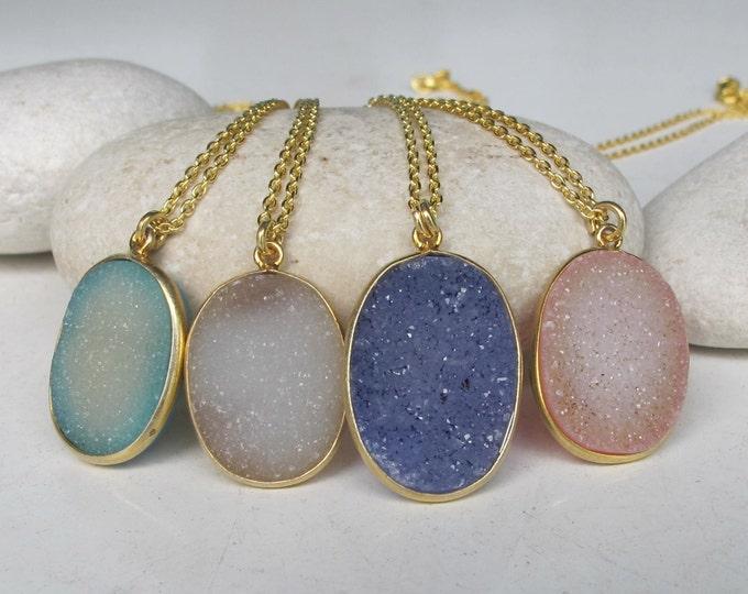 Druzy Necklace Gold Oval Rough Stone Raw Jewelry Boho Statement