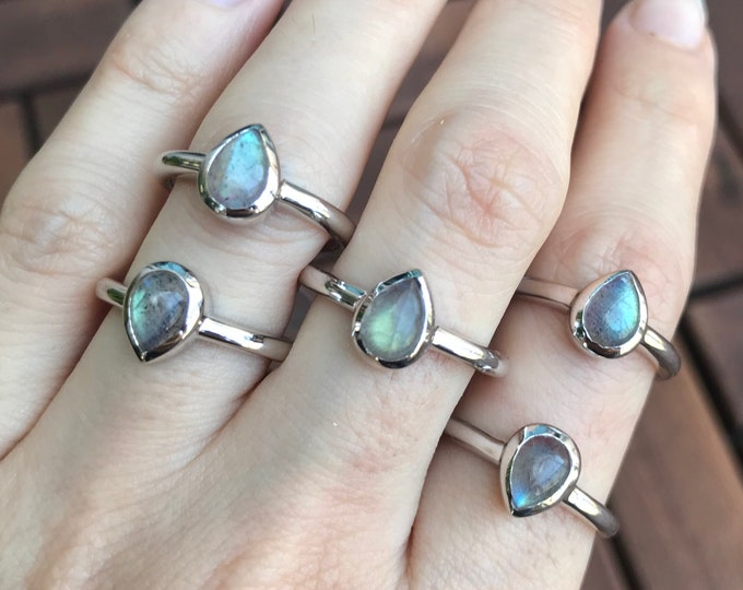 Rainbow Stack Labradorite Ring- Silver Cabochon Pear Ring Boho Gypsy Ring Tiny Hippie Ring- Teardrop Gemstone Jewelry Bohemian Minimal Ring