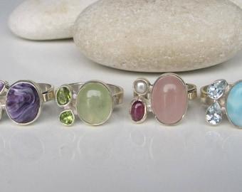 Boho Sterling Silver Multistone Cluster Gemstone Ring All sizes 9 10 Gypsy Tribal
