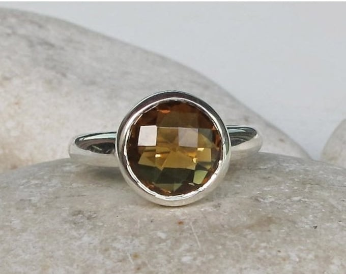 40% OFF SALE Solitaire Smoky Quartz Ring- Stackable Gemstone Ring- Brown Stone Ring- Gifts For Her- Faceted Ring- Smoky Topaz Ring- Sterling