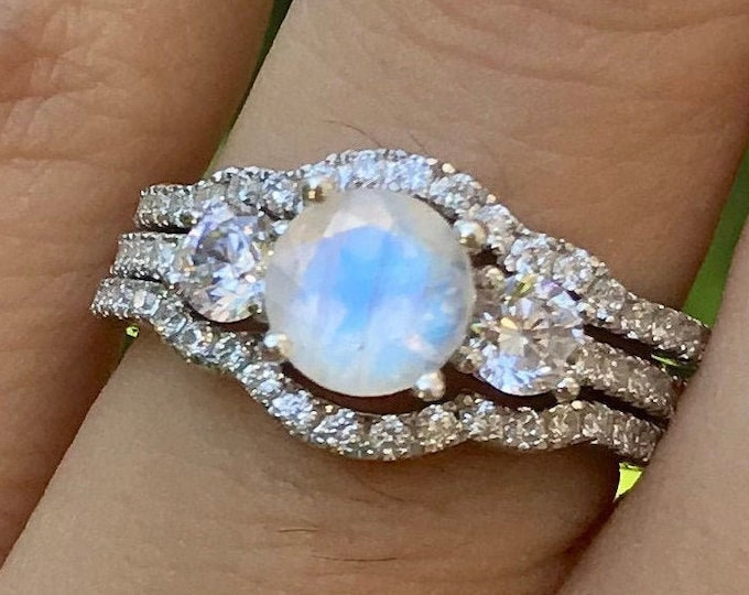 Moonstone Engagement 3 Vintage Ring Set- Round Moonstone Bridal Ring Deco Set- Three Stone Anniversary Ring- Promise Ring for Her w/ Bands