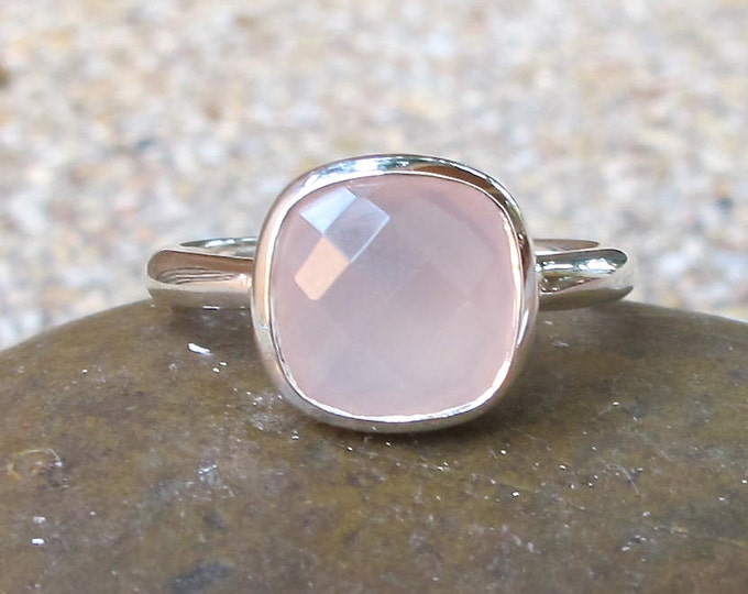 Square Pink Gemstone Ring- October Birthstone Ring- Stone Stack Silver Ring- Simple Promise Ring for Her- Cushion Cut Pink Chalcedony Ring