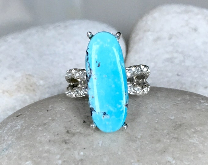 Oval Turquoise Statement Ring- Long Oval Sterling Silver Ring- Blue Gemstone Solitaire Ring- December Birthstone Split Shank Ring