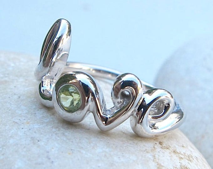 Peridot Ring Love Ring August Birthstone Ring Rose Gold Ring Sterling Silver Gold Boho Ring
