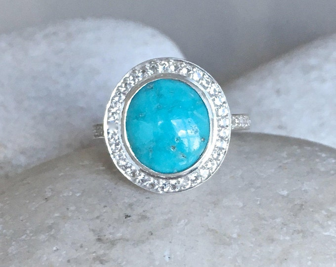Oval Turquoise Engagement Ring- Halo Cabochon Promise Ring- Blue Bridal Wedding Ring- Statement Gemstone Ring- December Birthstone Ring