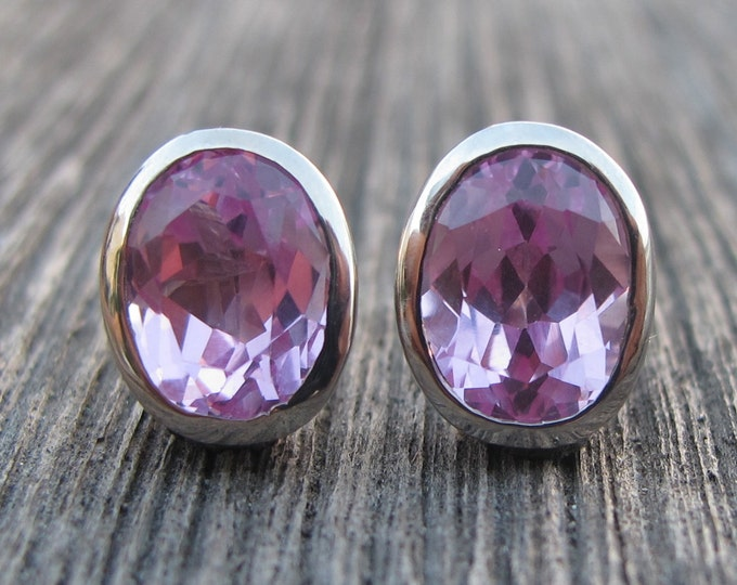 Pink Cubic Zirconia Stud Earring- Pink Topaz Oval Silver Earring- Pink Quartz Bezel Earring- Pink Gemstone Classic Stud Earring