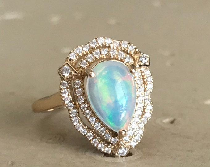 Opal Vintage Halo Engagement Ring- Natural 1ct Opal Teardrop Promise Ring- Deco Genuine Opal Solitaire Ring- Large Double Halo Cab Opal Ring