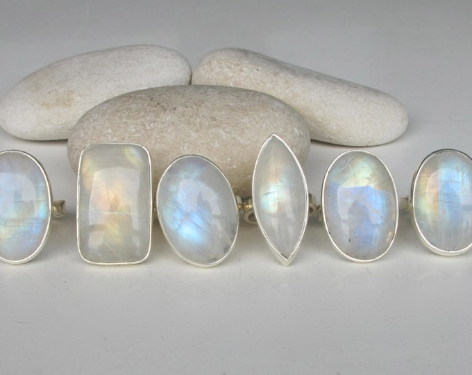 Large Oval Rainbow Moonstone Ring- Chunky Moonstone Statement Ring- June Birthstone Ring- Sterling Silver Moonstone Ring
