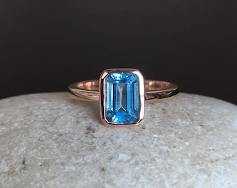 Rose Gold Promise Ring- Octagon Blue Topaz Ring- December Birthstone Ring- Something Blue Engagement Ring- Emerald Cut Engagement Ring