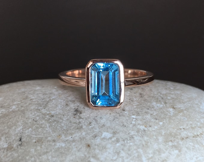 3ct Emerald Cut Swiss Blue Topaz Ring- Rectangle Blue Stone Rose Gold Ring- December Birthstone Ring- Something Blue Promise Ring