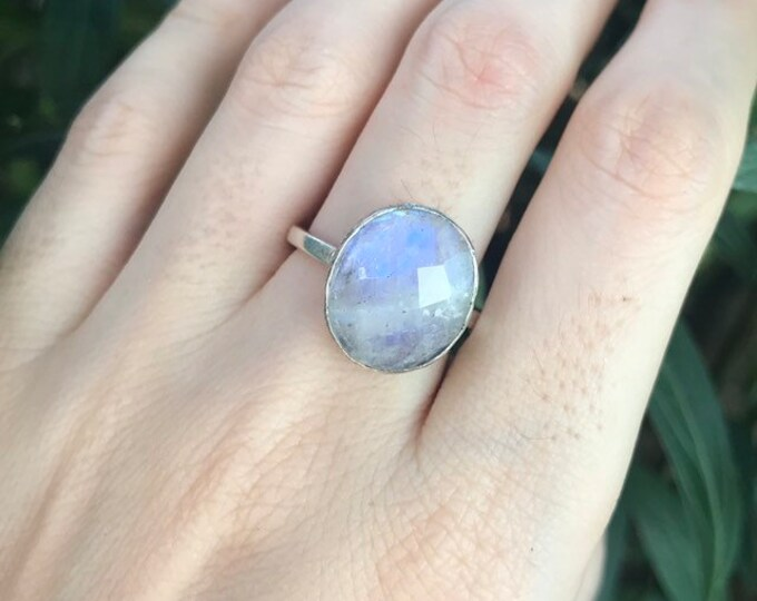 Oval Rainbow Moonstone Ring- Simple Moonstone Boho Ring- Bohemian Moonstone Ring- June Birthstone Ring- Sterling Silver Statement Ring