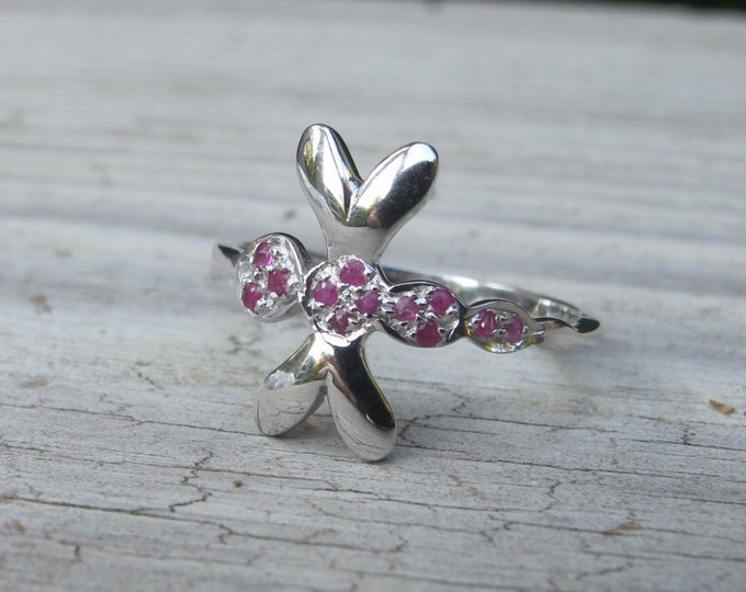 Ruby Dragonfly Whimical Ring for Child or Teen- Dragonfly Jewelry Gifts for Her-