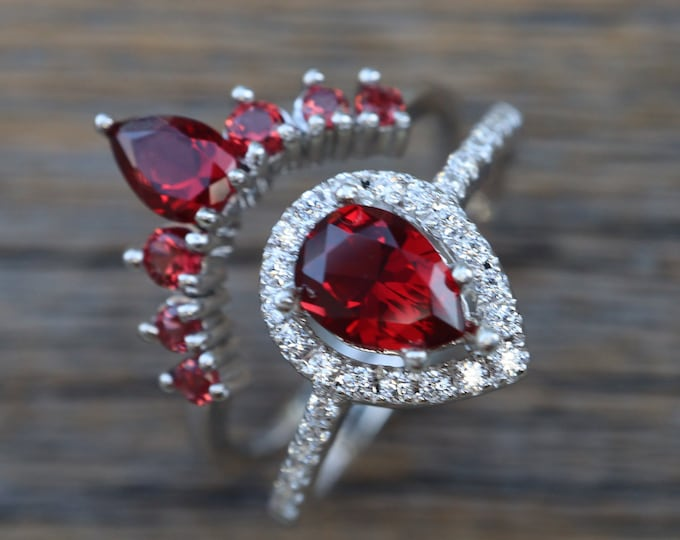 Teardrop Garnet Bridal Ring Set- Pear Garnet Wedding 2 Ring Set- Red Stone Halo Bridal Ring with Curved Wedding Band-Sterling Silver Rings