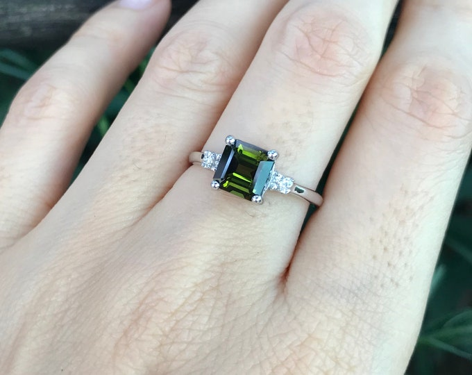Square Green Tourmaline Engagement Ring- Princess Tourmaline Promise Ring for Her-Three Stone White Gold  Ring-Green Tourmaline Diamond Ring