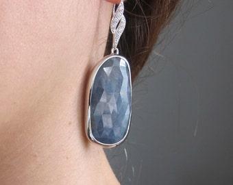 Blue Sapphire Large Raw Statement Earring- Long Rough Faceted Sapphire Blue Earring- Bold Gemstone Dangle Drop Earring- September Earring