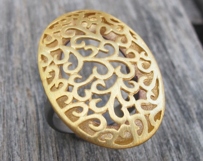 Large Statement Filigree Ring- Statement Ring- Boho Ring- Cut Out Motif Ring- Floral Ring  Woman Statement Ring Gold Ring