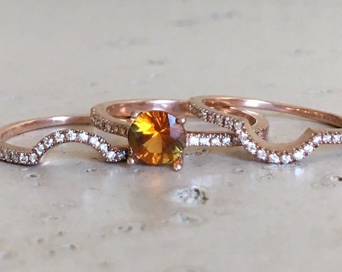Yellow Sapphire Engagement Ring Set- Round Sapphire Rose Gold Ring- Yellow Alternative Bridal Set Ring- 3 Piece Ring Set with Diamond Bands
