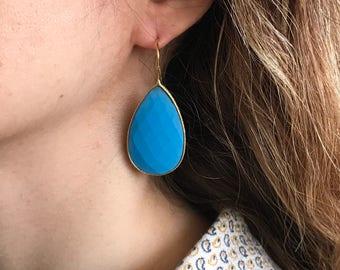Turquoise Gold Long Earring- December Birthstone Earring- Pear Shape Dangle Earring- Blue Gemstone Earring- Statement Turquoise Earring