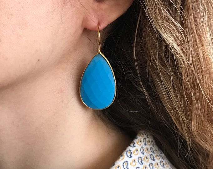 Large Turquoise Teardrop Long Drop Earring- Pear Shape Blue Turquoise Dangle Earring- Blue Gemstone Earring- Statement Turquoise Earring
