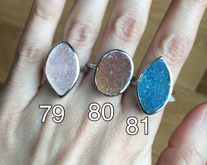 Large Druzy Ring- Raw Rock Ring- Raw Crystal Ring- Rough Stone Ring- Sterling SIlver Ring- Blue Druzy Ring