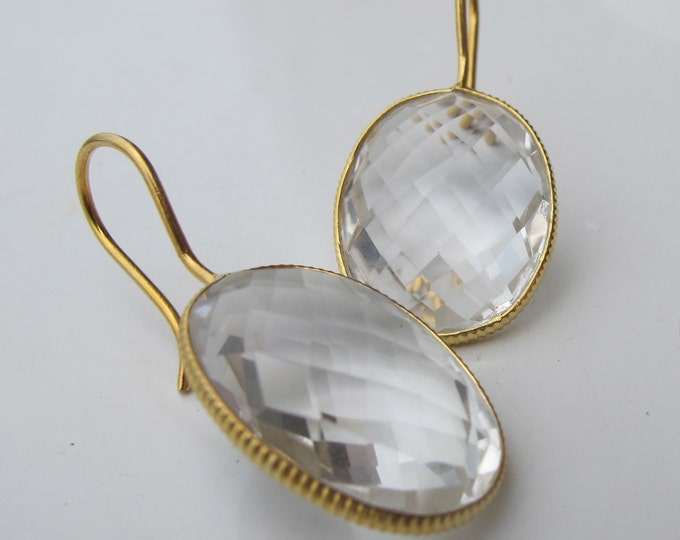 Clear Quartz Drop Earring- Oval Clear Earring- Simple White Quartz Earring- Gold Dangle Earring- Sterling Silver Clear Earring
