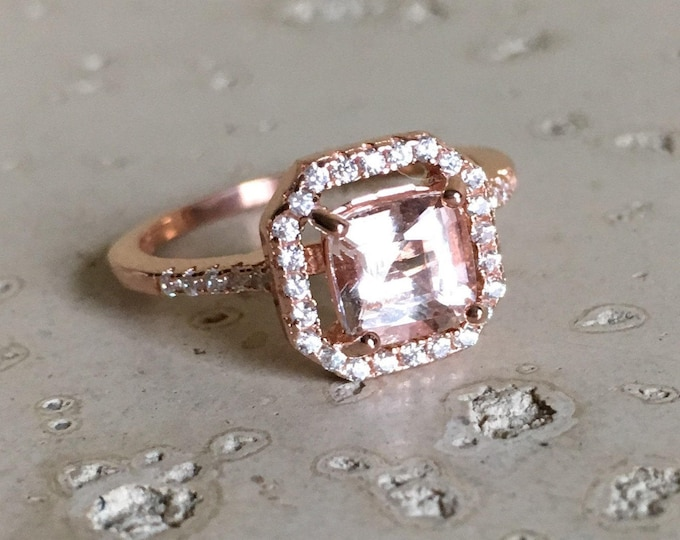 Rose Gold Morganite Engagement Ring- Square Morganite Promise Ring- Halo Morganite Anniversary Ring- Pink Gemstone Engagement Ring