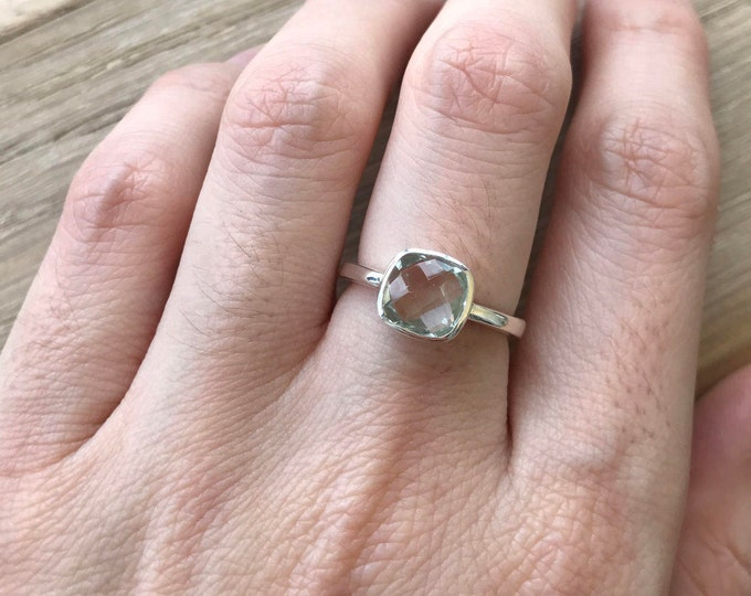 Green Amethyst Ring Small Stack February Birthstone Ring- Square Green Gemstone Ring- Sterling Silver Green Ring- Simple Boho Ring