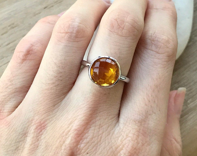 Round Citrine Ring- November Birthstone Ring- Yellow Topaz Ring- Topaz Ring