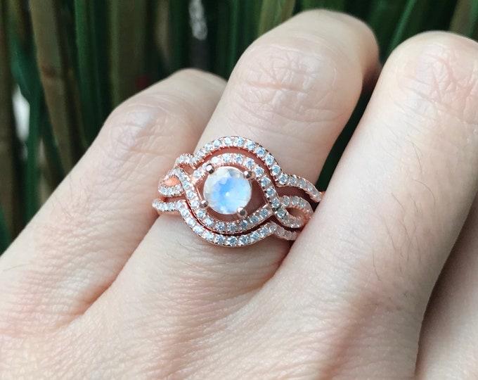 Rainbow Moonstone 3 Bridal Ring Set- Moonstone Round Prong Women Engagement Ring Set- Art Deco Rose Gold Moonstone Split Twist Swirl Rings
