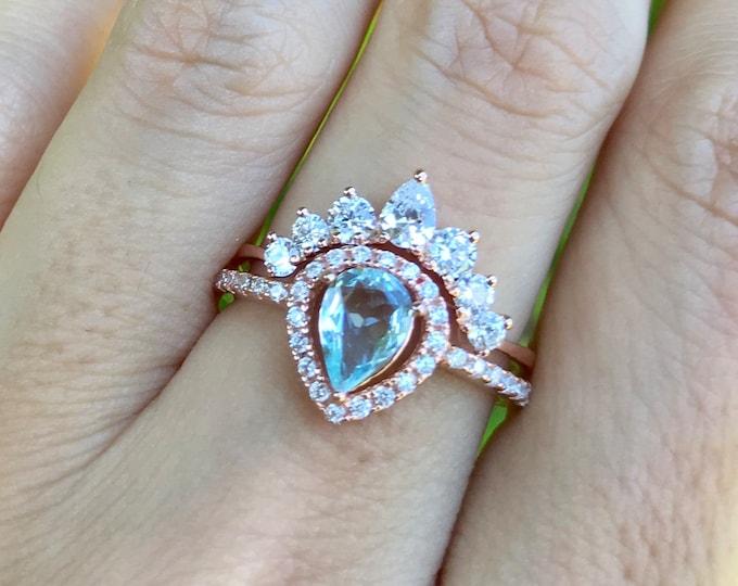Vintage Aquamarine Engagement Ring Set- Teardrop Aquamarine Bridal Deco Ring- Halo Aquamarine 0.50ct Promise Ring- March Birthstone Ring