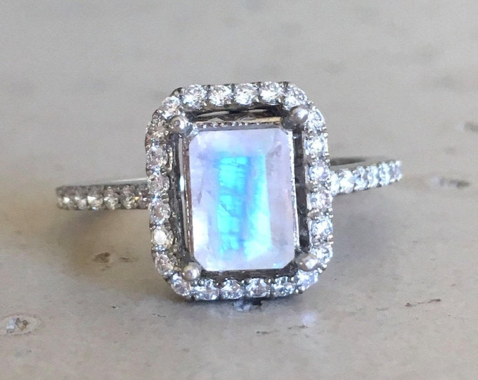 Emerald Shape Moonstone Engagement Ring- Rose Gold Moonstone Promise Ring- Halo Diamond Moonstone Ring- Solitaire Rectangle Anniversary Ring